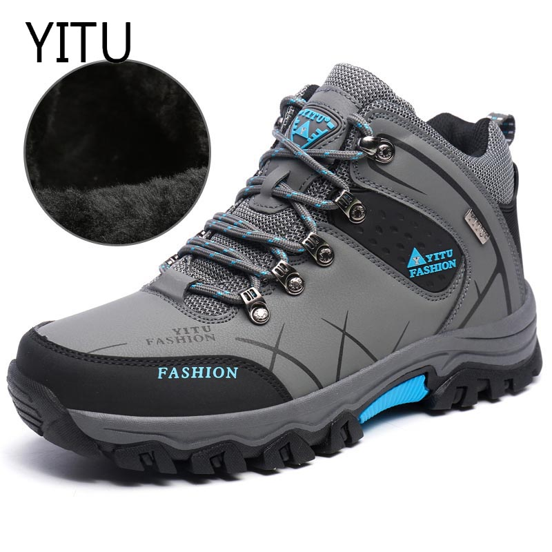 Warm Fur Autumn Winter Waterproof Men Hiking Shoes High Top Boots Mountain Climbing Trekking Sneakers Big Large Size 45 46 big size 46 men s winter sneakers plush ankle boots outdoor high top cotton boots hiking shoes men non slip work mountain shoes