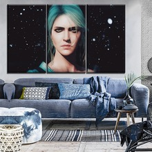 Modern Canvas Ciri Painting 3 Pieces Game The Witcher 3 Wild Hunt Wall Art Picture Home Decorative HD Printed Poster Artwork все цены