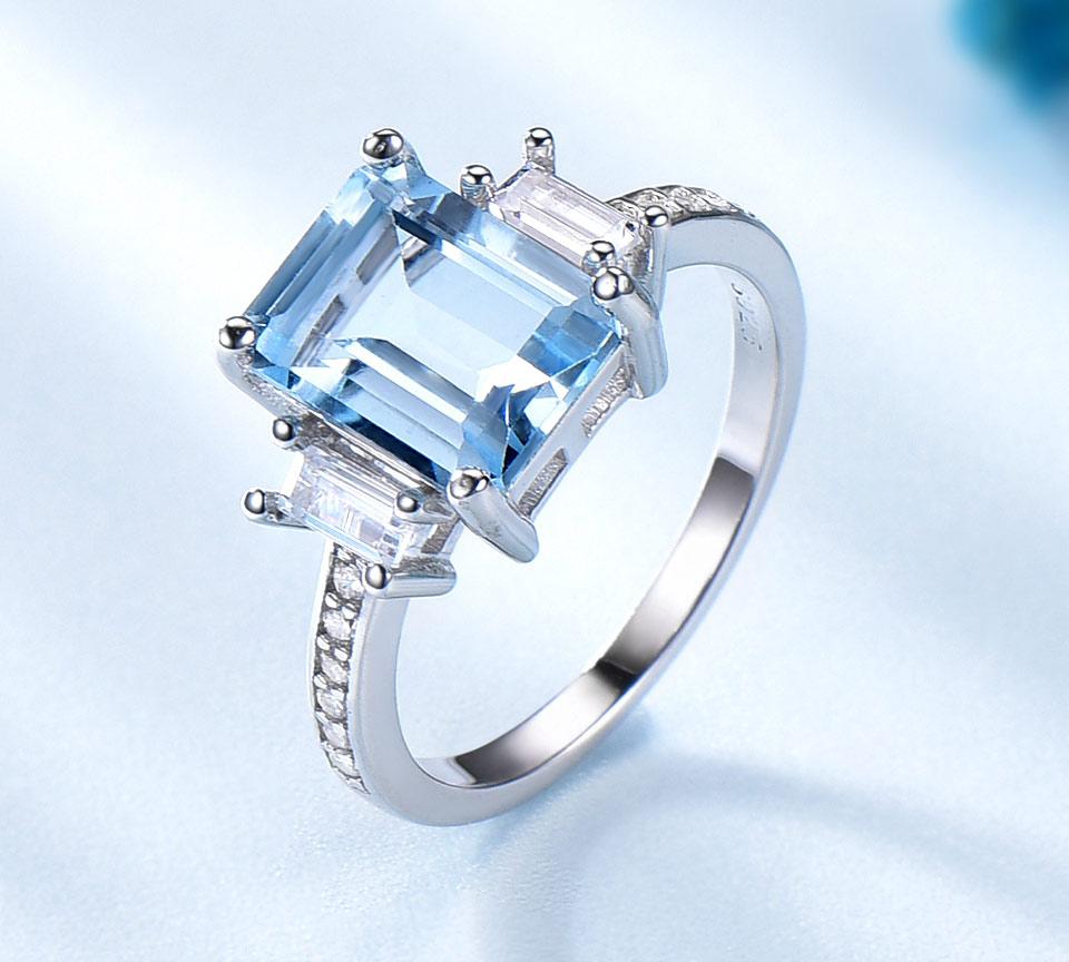HTB13pDglRnTBKNjSZPfq6zf1XXaJ UMCHO Blue Topaz Gemstone Rings for Women Genuine 925 Sterling Silver Aquamarine Ring Romantic Wedding Engagement Fine Jewelry
