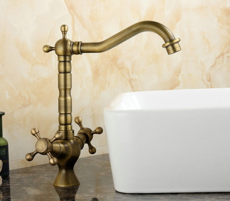 Buy free shipping antique brass single - Long bathroom sink with two faucets ...