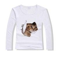 Original Pstyle Cute Cat T-shirt Women Spring Tops Tees Print 3D Animal T Shirt O-neck Long Sleeve Fashion T shirts for Women