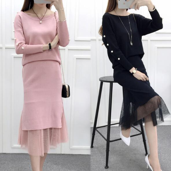 New women's fashion suit pearls Batwing Sweater Tops and fishtail package hip Gauze Patchwork Long Skirt 2 piece set women 1239