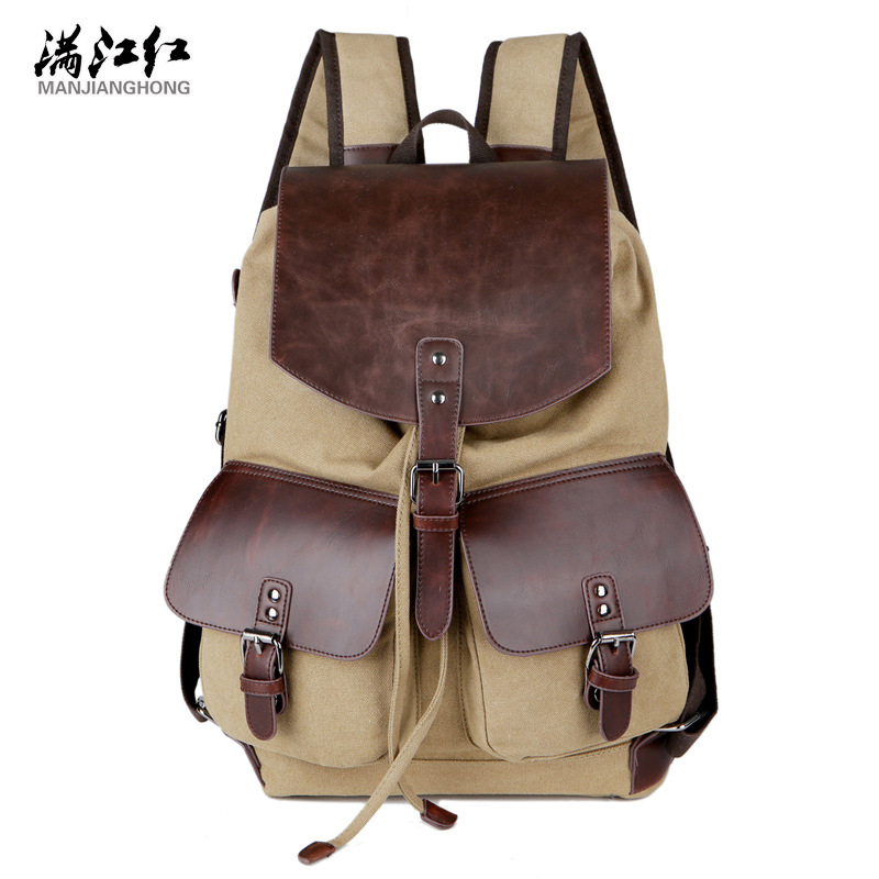 Фотография T-Plants High Quality Vintage Fashion Casual Canvas Microfiber Leather Women Men Backpacks Shoulder Bags Lady Rucksack