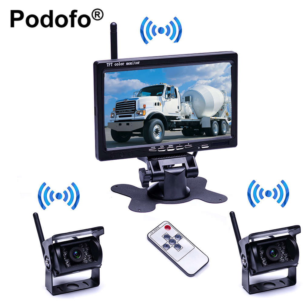 Podofo Wireless 7 Car Rear View Monitor Reverse Camera with IR Night Vision Backup Camera for Bus RV Truck Trailer diysecur 4pin dc12v 24v 7 inch 4 split quad lcd screen display rear view video security monitor for car truck bus cctv camera