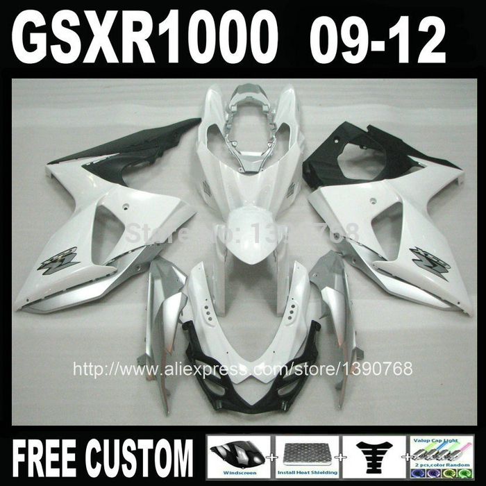High quality Injection Mold fairing kit for SUZUKI GSXR 1000 2009 2010 2011 2012 K9 GSXR1000 09-12 silver black fairings set ML3 high quality electric cooker plastic injection mold