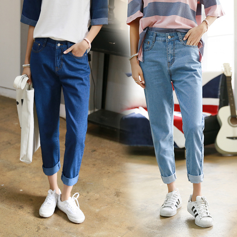 2018 Thin Section Spring and Summer   Jeans   Trousers Loose Female Korean Students Harlan Pants Bf High Waist Was Thin Nine Pants