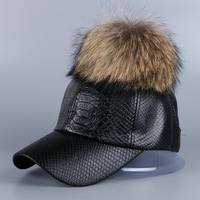 Hot Sale New Design Women Brand Winter Hat Caps Real Mink Fox Fur Pompom Leather Baseball