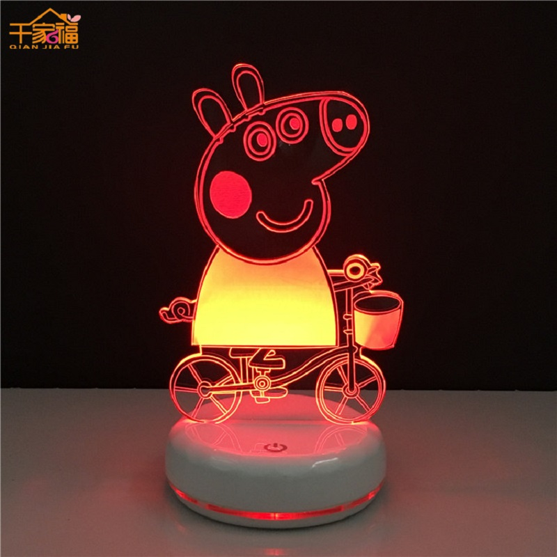 Peppa Pig 3D Illuminated Lights Toys Characters Action Model Decoration Lighting Children Room Decorations Birthday Gift