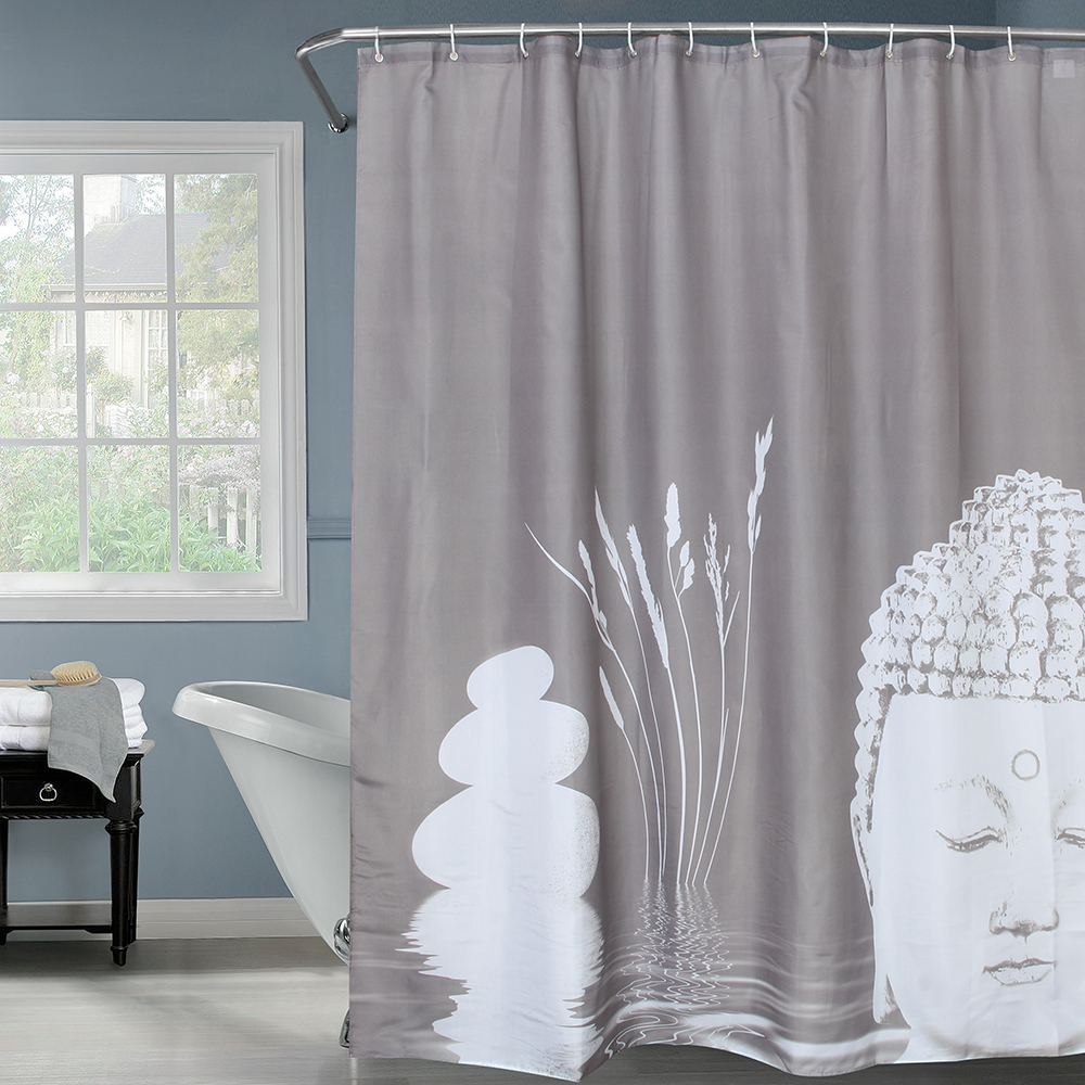 Happy Tree Fabric Polyester Gray Color Buddha And Stone Shower Curtain Waterproof Bathroom Zen Bath In Curtains From Home Garden