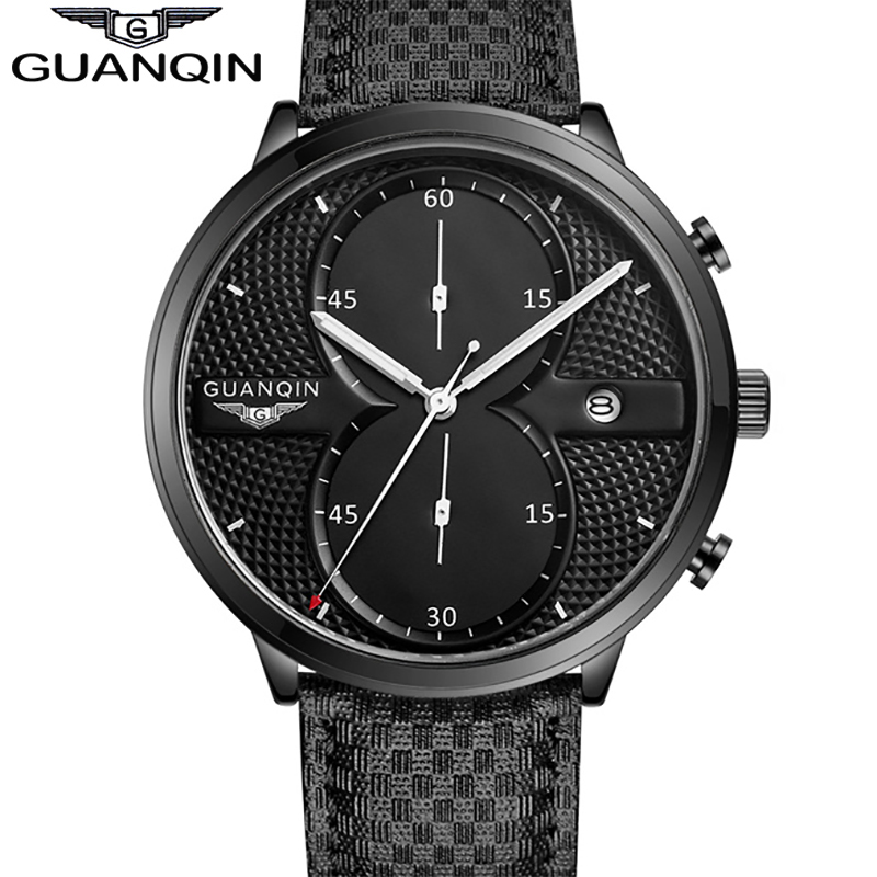 ФОТО Luxury New Brand GUANQIN Big Dial Designer Quartz Watch Men Sports Casual Wristwatch male Leather Strap business clock Stopwatch