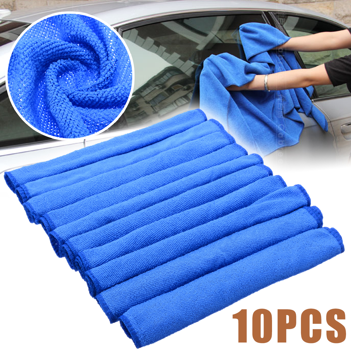 10pcs Blue Microfiber Cleaning 30*30cm Auto Car Detailing Soft Microfiber Cloths Wash Towel Duster Home Cleaning Tools-in Car Washer from Automobiles & Motorcycles