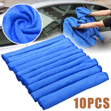 10pcs Blue Microfiber Cleaning 30*30cm Auto Car Detailing Soft Cloths Wash Towel Duster Home Tools