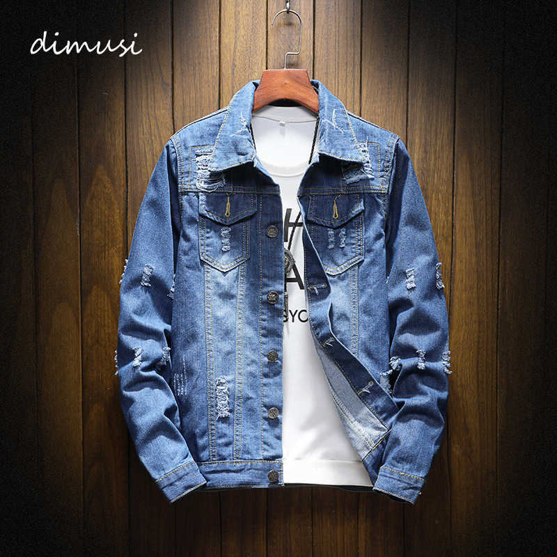 DIMUSI Mens Denim Jacket Trendy Mode Hip Hop Streetwer Ripped Denim Jas Heren Jeans Jacket Cowboy Jassen Kleding 5XL, YA851