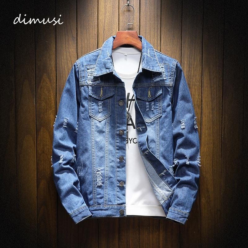 DIMUSI Mens Denim Jacket Trendy Fashion Hip Hop Streetwer Ripped Denim Jacket Mens Jeans Jacket Cowboy Coats Clothing 5XL,YA851