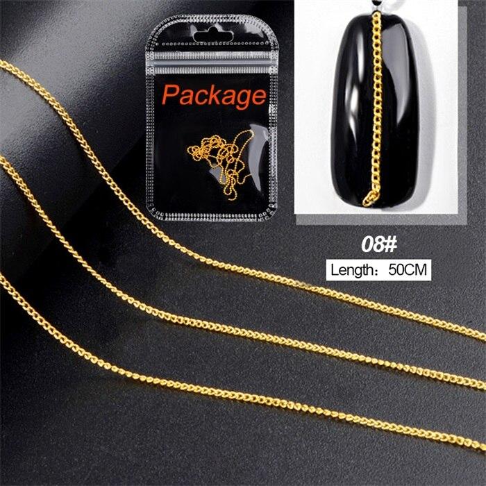3D металлические украшения для нейл-арта, золотая металлическая цепочка, бисер, линия, много размеров, змеиная кость, сделай сам, украшение для маникюра, нейл-арта, 1 коробка - Цвет: 462548