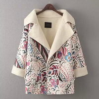 2016 Nueva Otoño Invierno mujer chaqueta Retro impresión solapa Grande abrigo de Cachemir Abrigo de invierno Ocasional de las mujeres