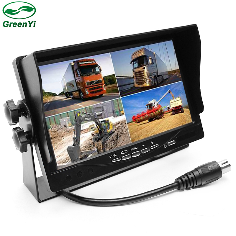 CCTV DC12V~24V 7 LCD Car Parking Monitor With 4CH Video input Quad Split Screen For Bus Truck Caravan Vans Video Monitors diysecur 4pin dc12v 24v 7 inch 4 split quad lcd screen display rear view video security monitor for car truck bus cctv camera
