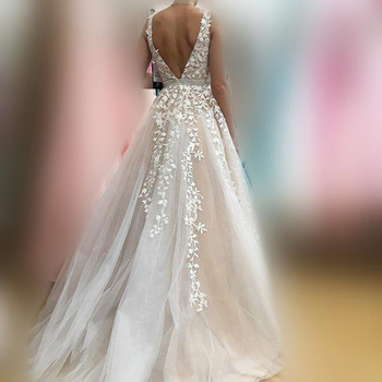 V Neck Wedding Dresses Light Champagne Floor Length Applique Open Back Sleeveless A Line Backless Bridal Dress Vestido De Noiva 3