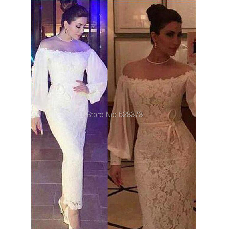 YNQNFS MD75 Sheer Neck Off Shoulder Long Sleeve Lace White Party Dress Formal Gown Ankle Length 2019