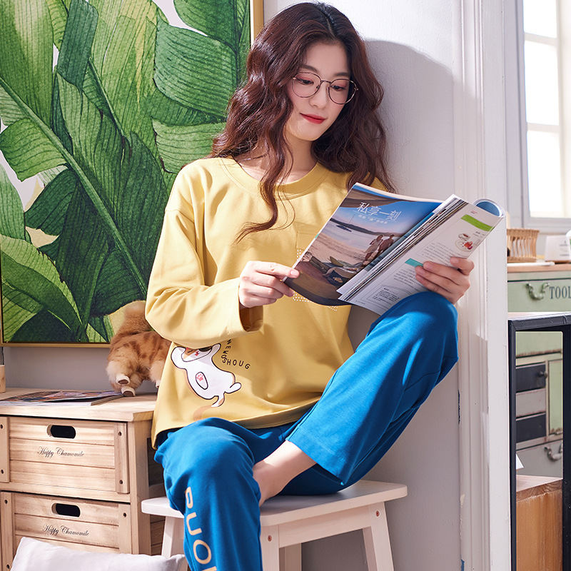 Women Clothes for Autumn winter Pajamas Sets O-Neck Sleepwear Lovely Rabbit Pijamas Mujer Long Sleeve Cotton Sexy Pyjamas Female 90