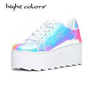 Patent Leather Platform Shoes Women Spring Autumn 2018 New Arrival Designer Shiny Fashion Creepers Ladies Flats