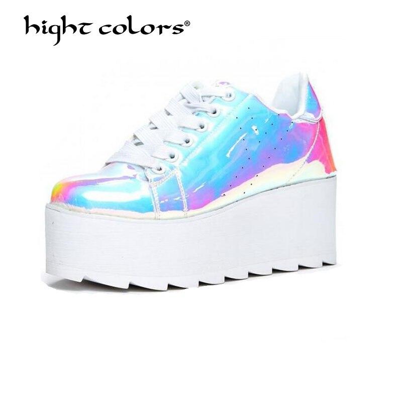589cf8cc9e56 Patent Leather Platform Shoes Women Spring Autumn 2018 New Arrival Designer  Shiny Fashion Creepers Ladies Flats Shoes TAO-49