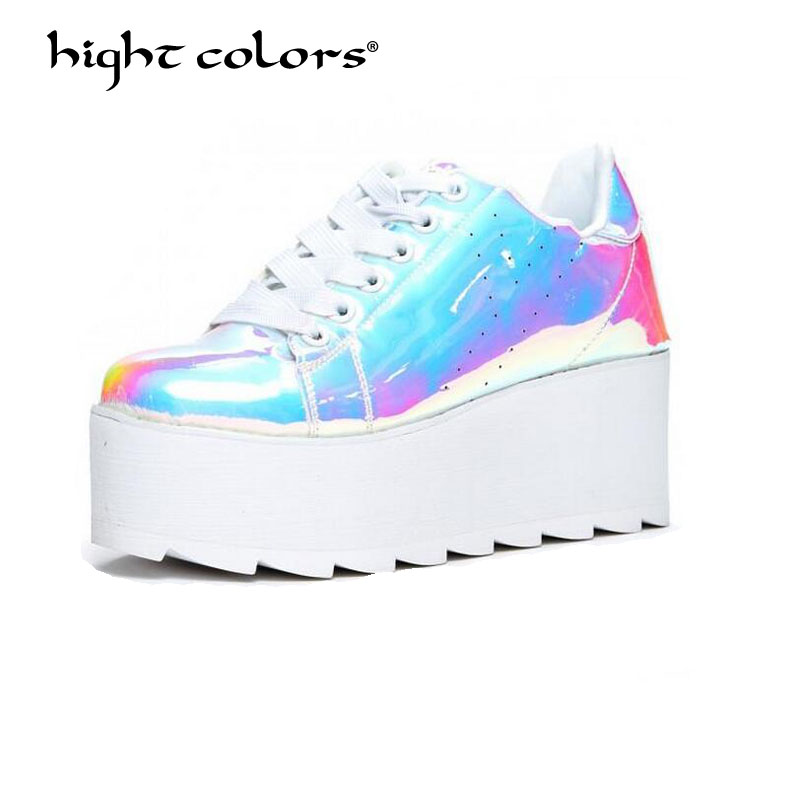 340c26fb8c5 Patent Leather Platform Shoes Women Spring Autumn 2019 New Arrival Designer  Shiny Fashion Creepers Ladies Flats Shoes TAO-49