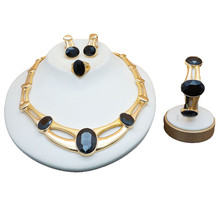 hot deal buy colourful stone jewelry set for ladies women bridal jewelry sets luxury necklace set in jewelry sets stud drop errings jewellery