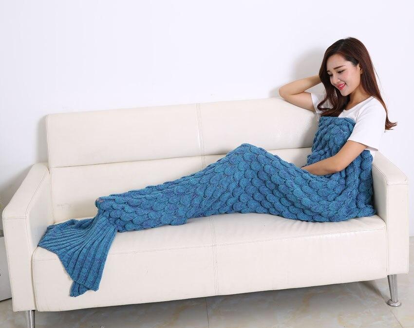 Mermaid Tail Coperta In Pile Morbido Fatto A Mano A Maglia Lap Lancio Bed Wrap Fin Caldo Cocoon Costume Capretti Delle Ragazze Dei Bambini Sacco A Pelo - 3