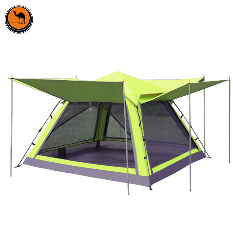 DESERT CAMEL Outdoor Recreation Family Camping 4 Person Gazebo Tent UV Polyester Travel Automatic Tent Awning For The Beach in Tents from Sports Entertainment