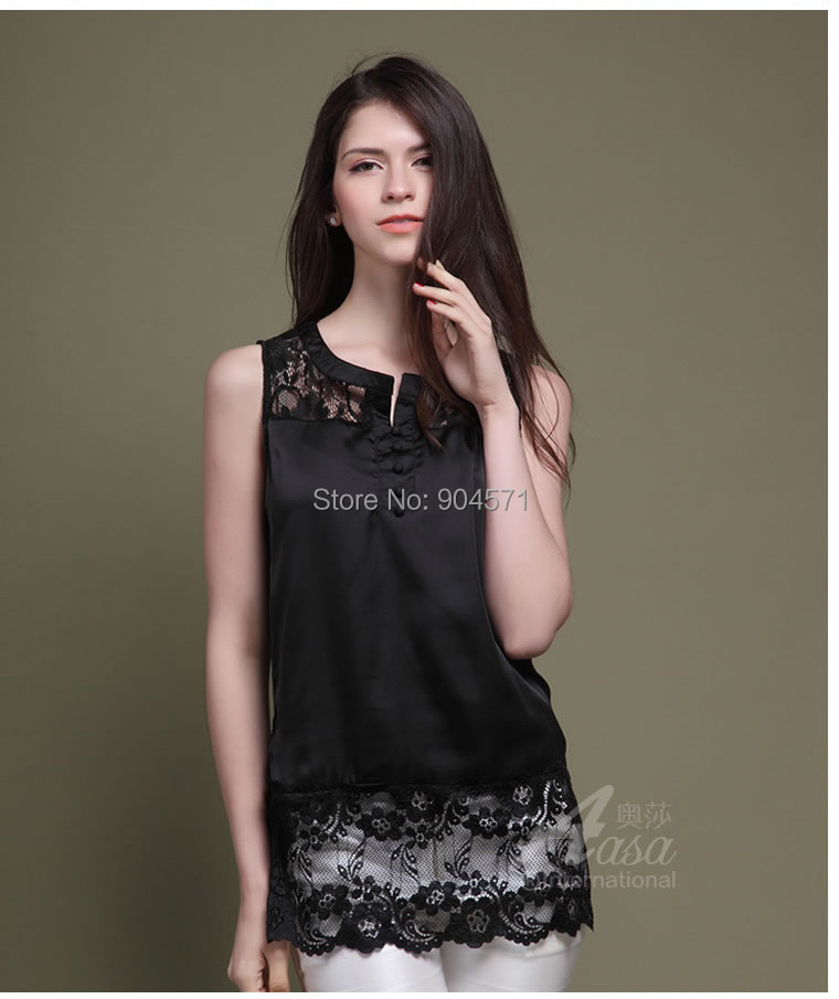 254abca49a0ea Summer Women Lace Tank Tops Long Sexy Hollow Out Sleeveless Silk Shirt High  Quality Black S L-in Tank Tops from Women s Clothing on Aliexpress.com