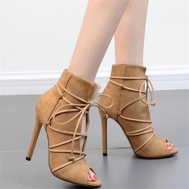 FragrantLily 2018 Spring new hot women pumps sexy high heels Korean version Suede fish mouth Straps Open toe woman shoes
