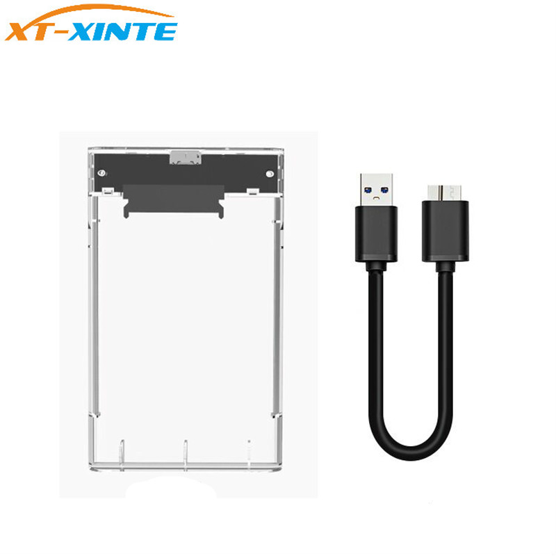Transparent 2.5inch HDD Case USB3.0 to Sata 3.0 Tool Free 5Gbps High Speed Hard Drive Enclosure Box for 2TB HDD SSD Desktop ugreen hdd enclosure sata to usb 3 0 hdd case tool free for 7 9 5mm 2 5 inch sata ssd up to 6tb hard disk box external hdd case