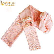 2016 Spring girls legging shiny lace bow flower girl pants fashion baby girl leggings kids cotton skinny legging pant PT440