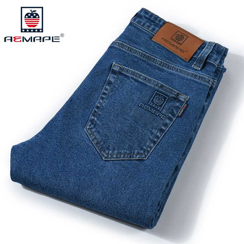 AEMAPE Jeans Men Straight Classic Original Fit Five Pocket Jean Denim Pants with Brand Logo