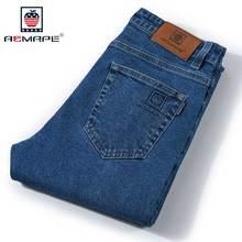 Aemape jeans männer gerade klassische original fit fünf taschen jean jeans mit marke logo
