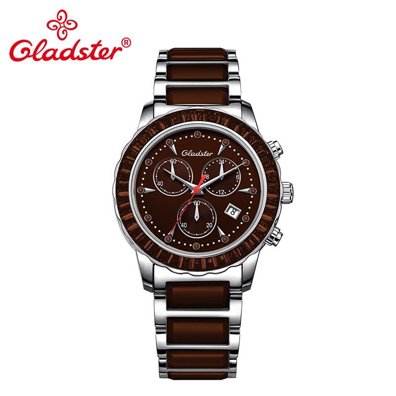 Gladster Luxury Japanese Movement Miyota Fashion Sapphire Crystal Women Watches Chronograph Quartz Lady Clock Ceramic Wristwatch цена 2017