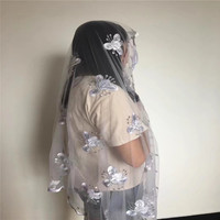 DF!Graceful wedding/party head tie net embroidery women African scarf with rhinestones ! P80231