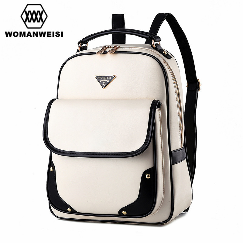 2017 New Fashion Summer Style Casual Travel Backpacks Korean Backpack For Teenage Girls Female PU Leather School Bags Mochila 2017 new korean man pu leather backpack male new style junior middle school students leisure travel backpack fashion bag