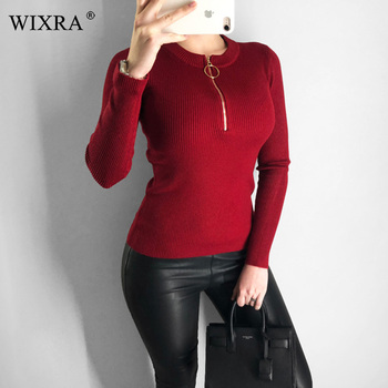 Wixra Winter Spring Autumn Zippers Solid Soft Knit Sweater For Female Basic O Neck Elastic Pullovers Sweaters Womens Clothing