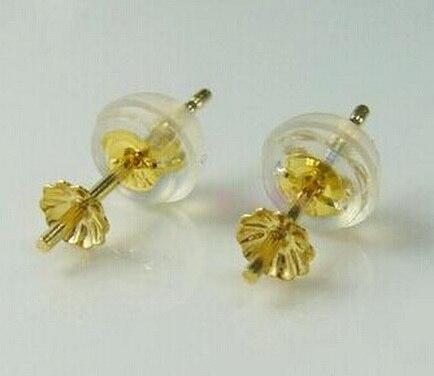 Boucles d'oreilles AU750 solide avec capuchon de perles de 3.5mm, peut s'adapter à des perles de 6-8 MM pour bricolage perle gemme boucle d'oreille raccord 2 paires/lot - 2
