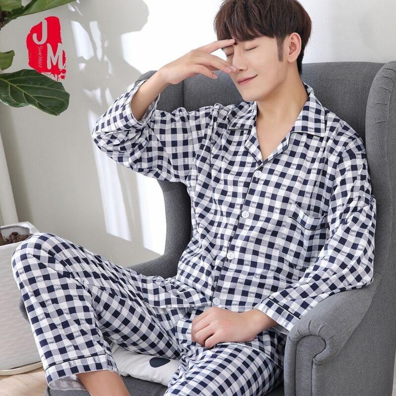 Autumn Men Pajama Sets Long Sleeve Plaid Cardigan Cotton Pajamas Casual Sleepwear Pyjamas Plus Size XXXL Winter Male Pajama Suit