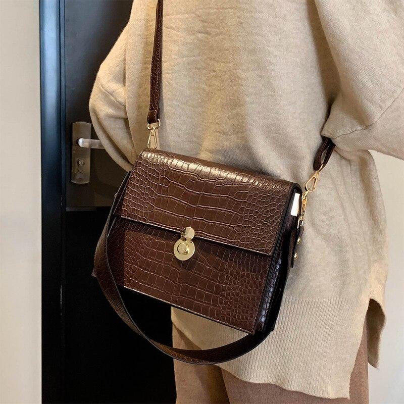 Vintage Fashion Female Tote bag 2019 New Quality PU Leather Women's Designer Handbag Crocodile Pattern Shoulder Messenger Bags 1