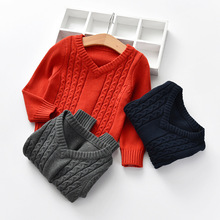 Winter Baby Sweater V-neck Knitted Sweaters Kids-pullover Boys Clothes 1-5Year