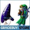 Legend Of Zelda Inspired Blue Ceramic Clay Ocarina Of Time 12 Holes Alto C Flute Orcarina