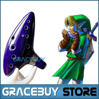 Legend Of Zelda Inspired Blue Ceramic Clay Ocarina Of Time 12 Holes Alto C Flute Orcarina