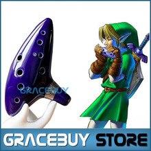 Legend of Zelda Ocarina 12 Hoyos Alto C Flauta Occarina Grifos De Cerámica Azul/Arcilla stl Orcarina Inspirado de Tiempo Instrumento Musical