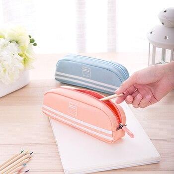 Канцелярские карандаши карандаш для школьников коробка принимает чистый три кармана ПУ Лен-как большой емкости Многофункциональный мешок ...