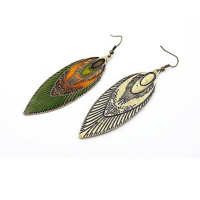 Antique Brass Peacock Feather Earrings