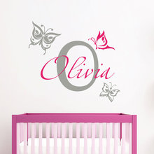 Custom Personalized Kids Room Decor Wall Sticker Vinyl Removable Designed Any Name With Initial And Butterflies Mural Y-905